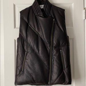Helmut Lang black leather puffer vest.